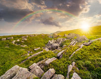 Stones on the mountain top at sunset Stock Photography