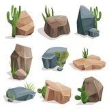 Stones and nature rocks set with green grass and cactus set, landscape design elements vector Illustrations. On a white background royalty free illustration
