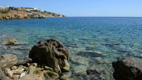 The stones near beach at luxury hotel. Crete, Greece stock video