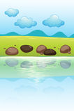 Stones near the river. Illustration of stones near the river royalty free illustration