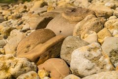 Osmington Bay, Jurassic Coast, Dorset, UK. Stones at Osmington Bay, Osmington Mills, near Weymouth, Jurassic Coast, Dorset, UK Stock Photo