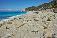 Stones over the sand of Katisma Beach, Lefkada,  Greece Royalty Free Stock Images