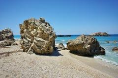Stones over the sand of Megali Petra, Lefkada,  Greece Stock Photo