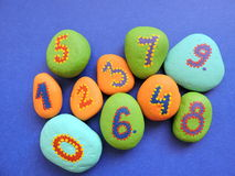 Stones with painting numbers Royalty Free Stock Images