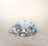 Stones pebbles on sea coast beach nature wallpaper background Royalty Free Stock Photos
