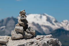 Stones Piled on Each Other and Mountain Ridge in Italian Dolomit Royalty Free Stock Photography