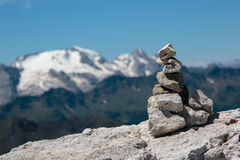 Stones Piled on Each Other and Mountain Ridge in Italian Dolomit Royalty Free Stock Photo