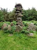 Stones pillar at the Druid`s Temple, Masham, Yorkshire stock photography
