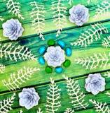 Stones, plants and algae on wooden background. Royalty Free Stock Image