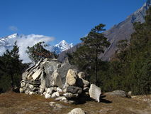 Stones for prayer. In the Himalayas royalty free stock photo
