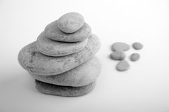 Stones in a pyramid. Black and white photo Royalty Free Stock Images