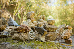 Stones pyramid. In deep mountain symbolizing zen Royalty Free Stock Photo