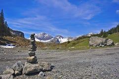 Stones pyramid. In Alps, Switzerland Royalty Free Stock Photo