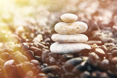 Stones pyramid on the beach. Zen and harmony concept. Royalty Free Stock Photography