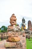 Stones pyramid at Old temple. Ayutthaya, thailand royalty free stock images