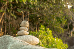 Stones pyramid on stone symbol of  harmony and balance. Stock Photography