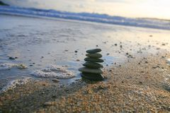 Stones pyramid in the sunset light Royalty Free Stock Photography