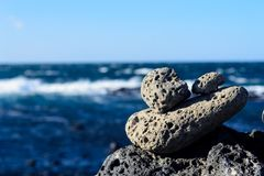 Stones pyramid. Symbolizing stability, zen, harmony balance stock photo