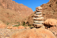 Stones pyramid in Todgha Gorge. Morocco Royalty Free Stock Photography