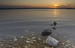 The stones in the river at dawn Stock Photography