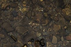 Stones in the river photographed from above / Clear river water and colorful stones/ Photo of stones in the clear river /Backgroun stock photos