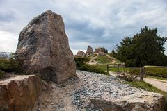 Stones in the rockery in Kyiv botanical garden royalty free stock image