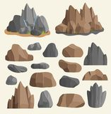 Stones rocks in cartoon style big building mineral pile. Boulder natural rocks and stones granite rough illustration Royalty Free Stock Image