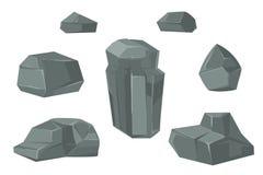 Stones and rocks cartoon vector boulders set Royalty Free Stock Photo
