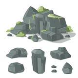 Stones and rocks cartoon vector nature boulder with grass  moss Stock Photos