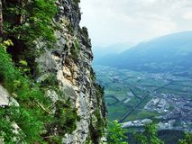 Stones and rocks of Gonzen mountain above Sargans and the river Rhine valley. Canton of St. Gallen, Switzerland royalty free stock image