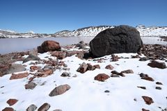 Stones, rocks, snow and mountain lake, Caucasus. Royalty Free Stock Image