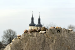 Stones on a sandstone wall. Royalty Free Stock Photography