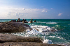 Stones in a sea and blue sky Royalty Free Stock Images