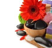 Stones, sea salt and flower Royalty Free Stock Image