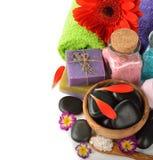 Stones, sea salt and flower Stock Photography