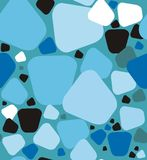 Stones a seamless pattern. Stones pattern. A seamless pattern of a stones black, white, light blue, gray and blue on a light blue background Royalty Free Illustration