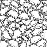 Stones seamless pattern,. Illustration hand draw style. Black and white Vector Illustration