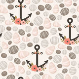 Stones seamless pattern. Seamless pattern with sea/river/ocean stones and floral anchors. Vector background royalty free illustration