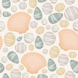 Stones and seashells seamless pattern. Seamless pattern with sea/river/ocean stones and seashells. Vector background royalty free illustration