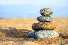 Stones on the seashore royalty free stock photography