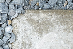 Stones(Selected focus) at the above-left corner of flagstone (dr Royalty Free Stock Image