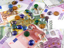 Stones set on euro money background Stock Photo