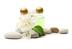 Stones and shampoo bottles Royalty Free Stock Photos