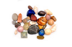 Stones and shells royalty free stock photos