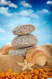 Stones and shells on sand Royalty Free Stock Photography