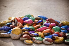 Stones with a smooth surface painted colorful paint Stock Images