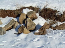 Stones in snow Stock Images