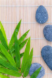 The Stones spa treatment scene. On bamboo background and bamboo leaves with raindrop zen like concepts Royalty Free Stock Image