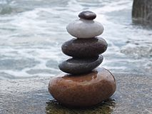 Stones stack. Stack of stones at beach Stock Photography