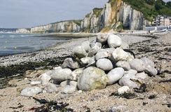 Stones on a stack at Beach in Northern France Royalty Free Stock Images